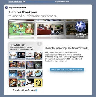 Illustration for article titled Sony Thanks Its Customers With PSN Ads