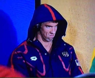 Michael Phelps staring at rival Chad le Clos during Rio de Janeiro Olympic competitionTwitter
