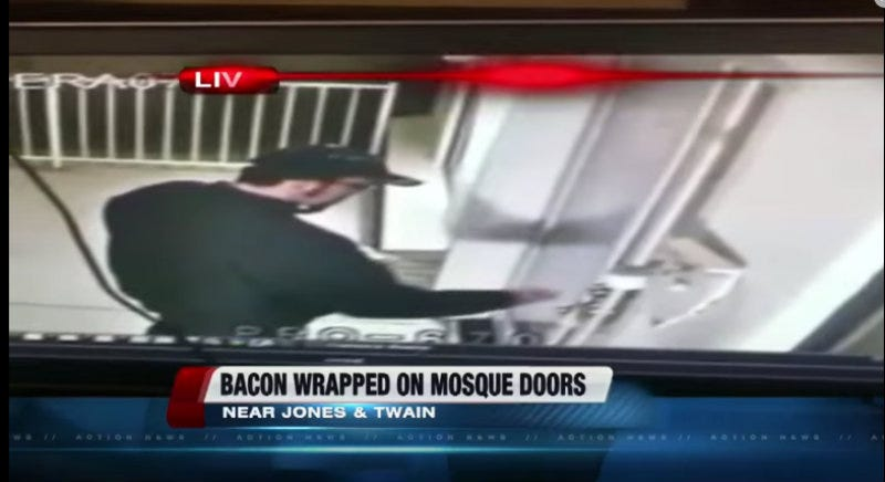 Illustration for article titled FBI Offering Reward for Info on Vandal Who Wrapped Bacon Around Mosque Door Handles