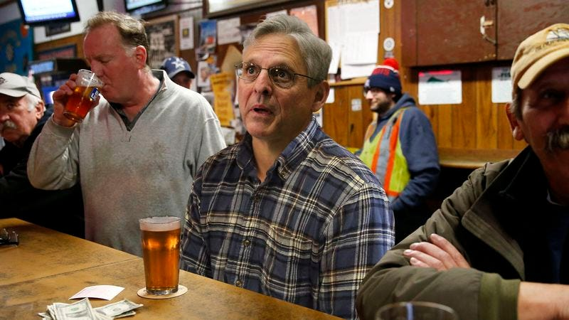 Illustration for article titled 'Could've Been Me,' Grumbles Merrick Garland Watching Gorsuch Hearings At Bar With Fellow Highway Maintenance Workers
