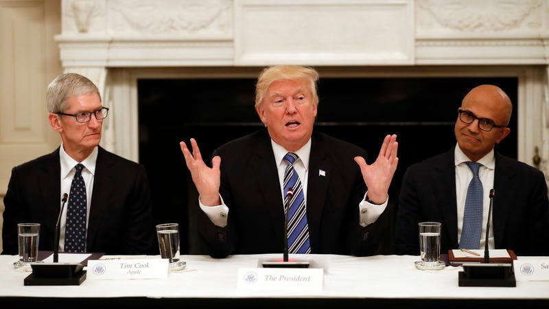 Tim Cook, Donald Trump, and Satya Nadella attend White House Tech Summit in June 2017