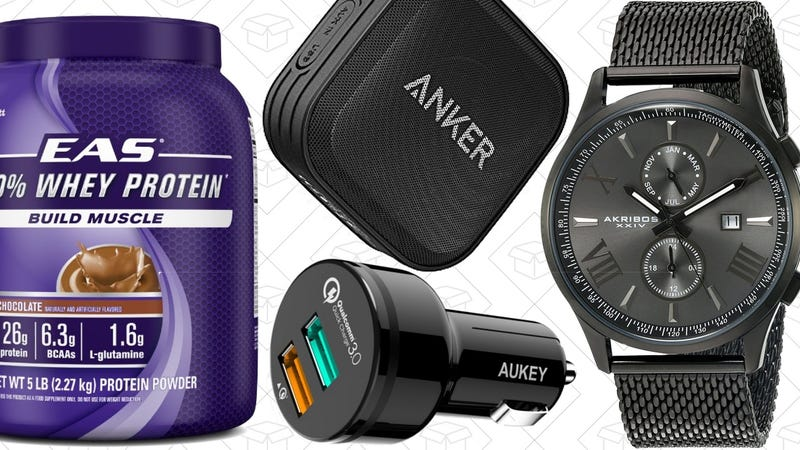 Illustration for article titled Today's Best Deals: Anker Speaker, EAS Protein, Men's Watches, and More