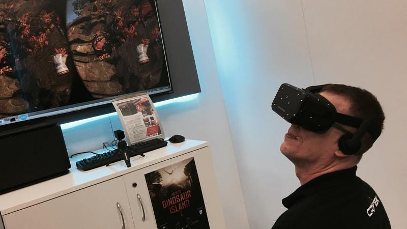 Crytek production director David Bowman in full VR gear