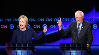 Democratic presidential candidates Bernie Sanders and Hillary Clinton participate in the CNN Democratic presidential primary debate in Flint, Mich., on March 6, 2016.Scott Olson/Getty Images