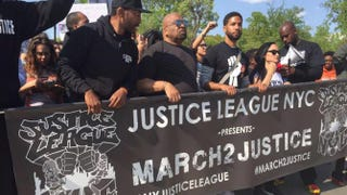 The March2Justice, with actor Jussie Smollett in the front row (third from left), moves up Constitution Avenue.Lauren Victoria Burke