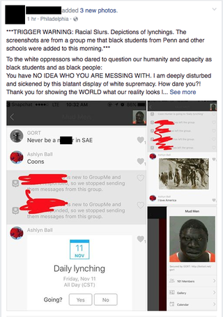 Screenshot of racist posts to a messaging group that targeted black students at the University of PennsylvaniaDaily Pennsylvanian screenshot
