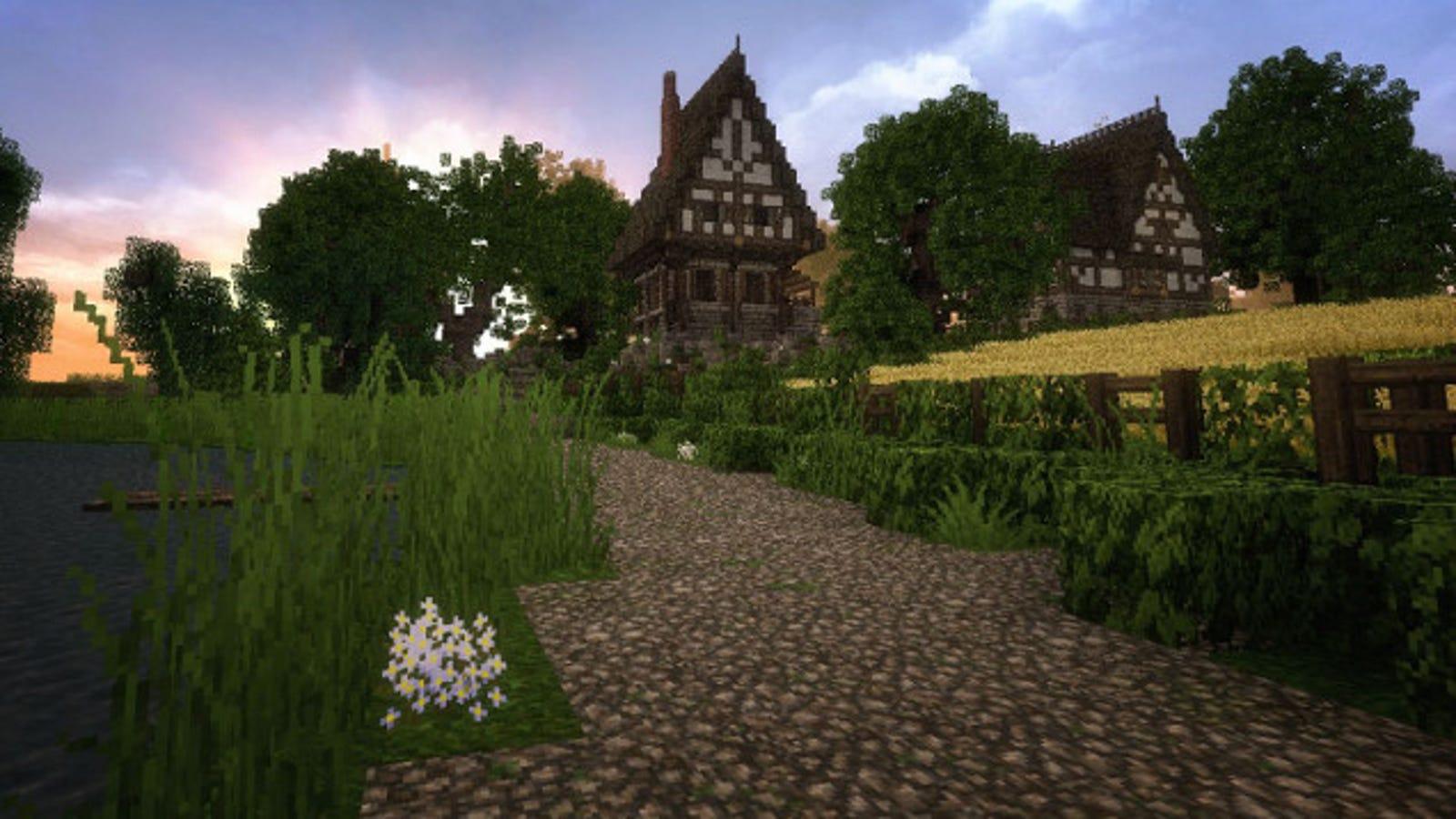 Beautiful Minecraft Village Helps Soldier Deployed in