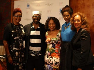 The Root Live host Harriette Cole, designer Byron Lars, author Teri Agins, designer Kimberly Goldson and Prudential's ShirleyAnn RobertsonJoshua Woods