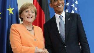 German Chancellor Angela Merkel and U.S. President Barack Obama at a press conference in June in BerlinSean Gallup/Getty Images