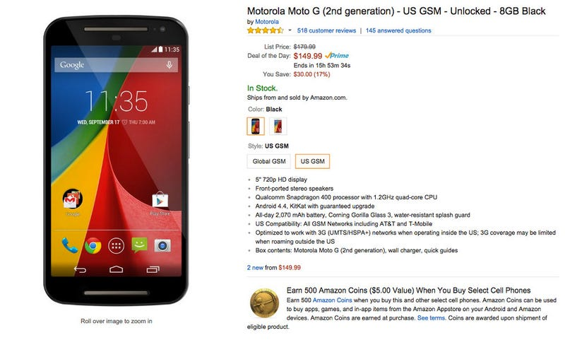 Illustration for article titled Friendly Notice: Moto G (2nd Gen.) on sale on Amazon!