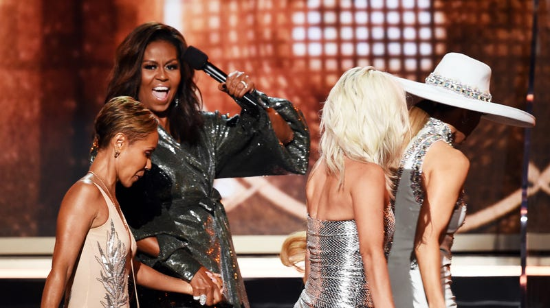 Jada Pinkett Smith, Michelle Obama, Lady Gaga, and Jennifer Lopez walk onstage during the 61st Annual GRAMMY Awards on February 10, 2019 in Los Angeles, California.