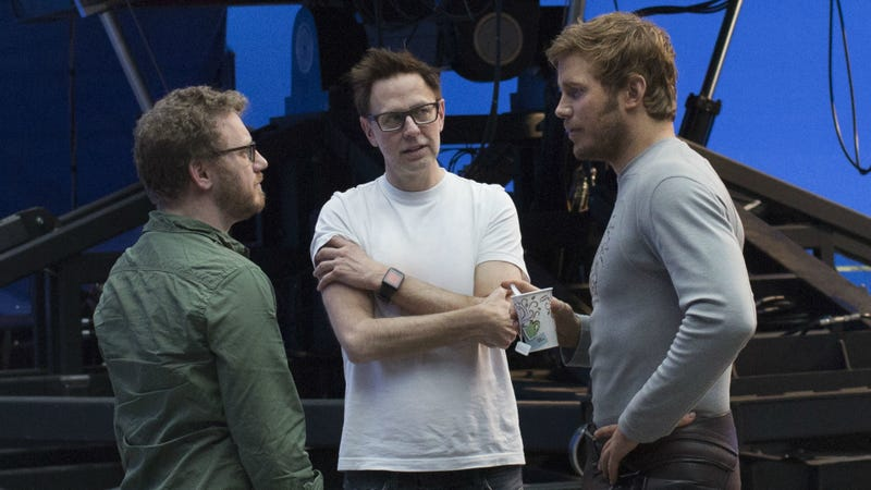 James Gunn (along with  producer Jonathan Schwartz and star Chris Pratt) on the set of Guardians of the Galaxy Vol. 2.