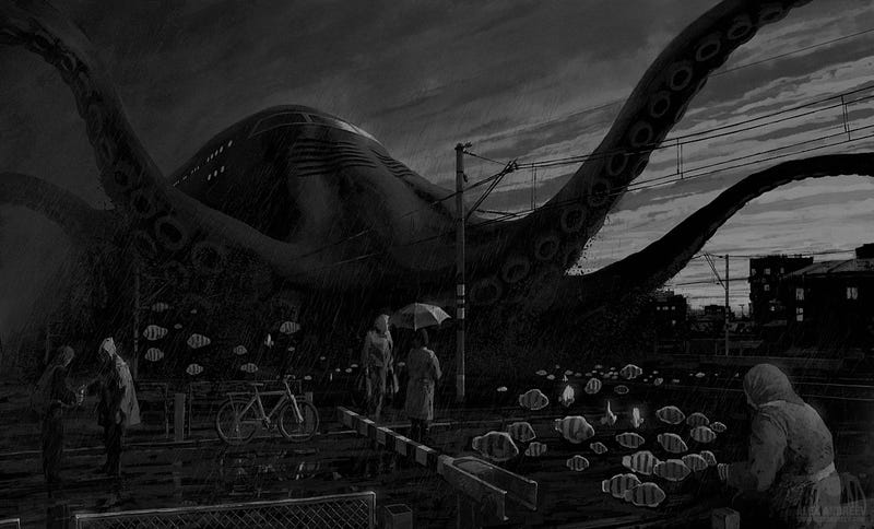 Illustration for article titled Concept Art Writing Prompt: Tales from the Octopus Train