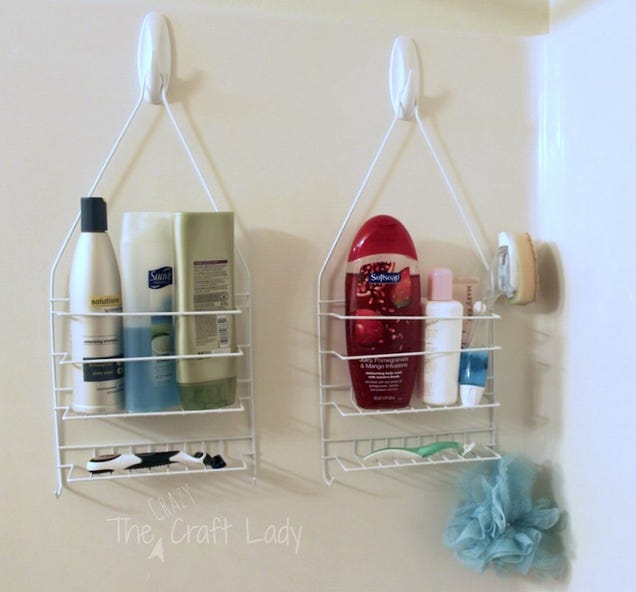 Hang Shower Caddies on Hooks for Instant Bathroom Storage