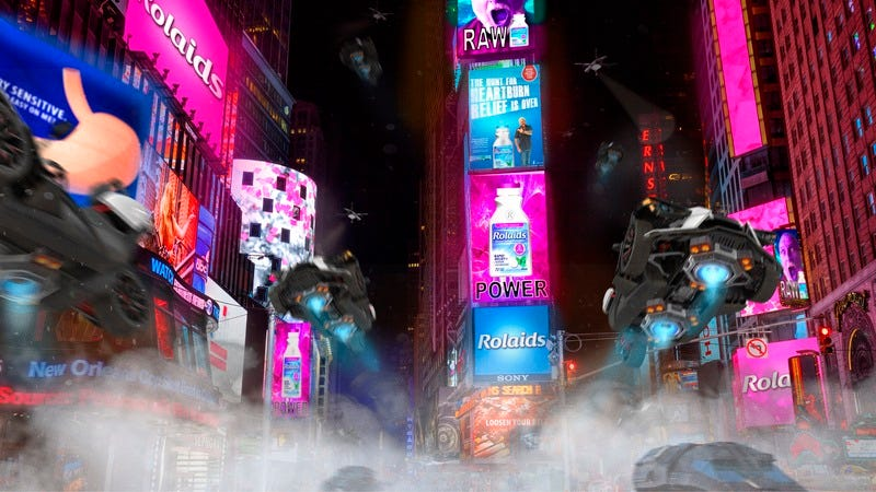 Times Square filled with Rolaids ads.