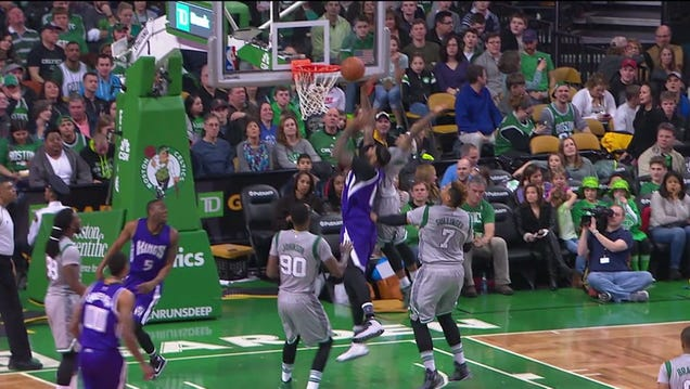 "5' 9"" Isaiah Thomas Stuffs 6' 11"" DeMarcus Cousins At The Rim"