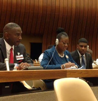 Ron Davis, Sybrina Fulton and Fulton's son Jahvaris Fulton testify Aug. 12, 2014, at the United Nations International Convention on the Elimination of All Forms of Racial Discrimination review in Geneva.U.S. Human Rights Network