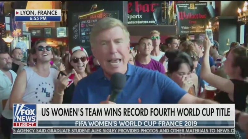 """Illustration for article titled Live Fox News Report About World Cup Win Interrupted By """"Fuck Trump"""" Chant"""