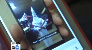 A photo of what is said to be a Pickerington (Ohio) High School North student dressed up as a Klansman ABC 6 screenshot