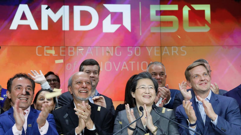 AMD CEO and president Lisa Su, second from right, attending a 50-year anniversary celebration of the company's founding at Nasdaq in May 2019.