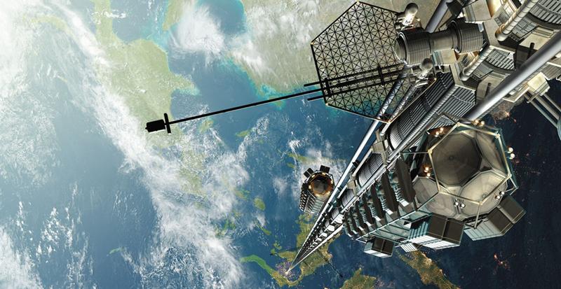 Concepto artístico de ascensor espacial