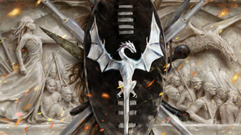A detail from the cover of The Rage of Dragons.