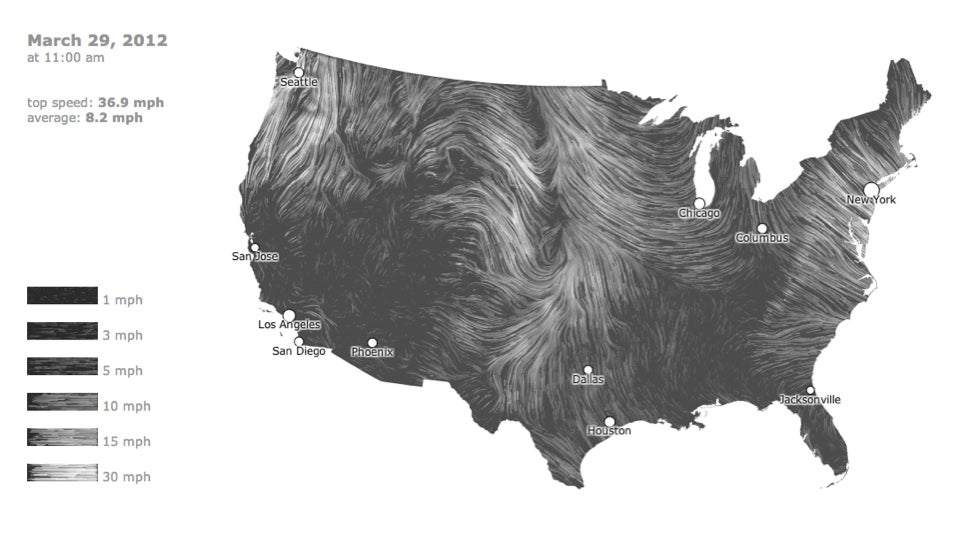 A mesmerizing realtime map of US wind patterns