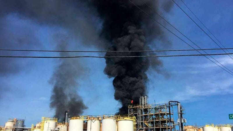 The KMCO Chemical Plant ablaze April 2, 2019.