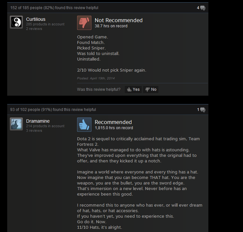 dota 2 as told by steam reviews
