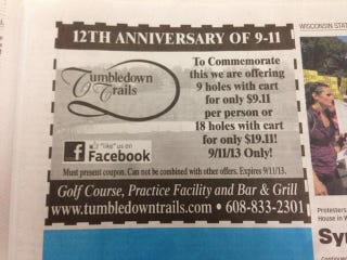 Illustration for article titled Golf Course's 9/11 Discount Promotion Goes Real Bad, Real Fast