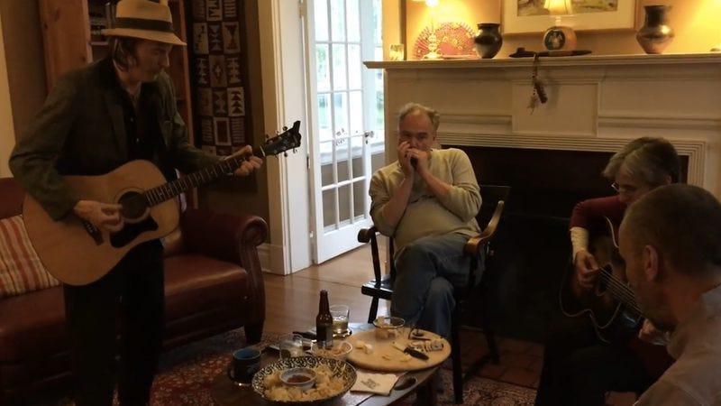 Stinson on guitar, Kaine on harmonica (Screenshot: Facebook)