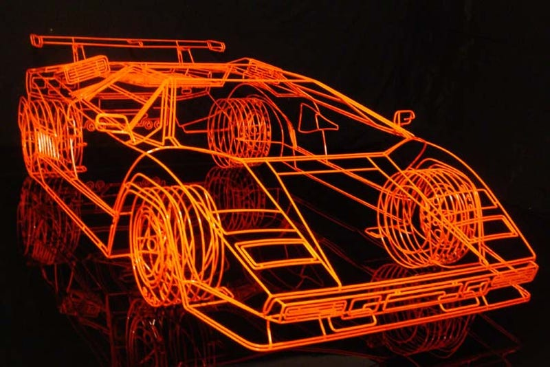 Illustration for article titled Artist Creates Wireframe Lamborghini Countach