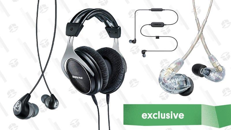 Shure SRH1540 Premium Closed-Back Headphones | $400 | Amazon | Use promo code KINJA20AShure SE112-K-BT1 Wireless Sound Isolating Earphones | $80 | Amazon | Use promo code KINJA20AShure SE215-CL Sound Isolating Earphones | $80 | Amazon | Use promo code KINJA20AShure SE112-GR Sound Isolating Earphones | $43 | Amazon | Use promo code KINJA20A