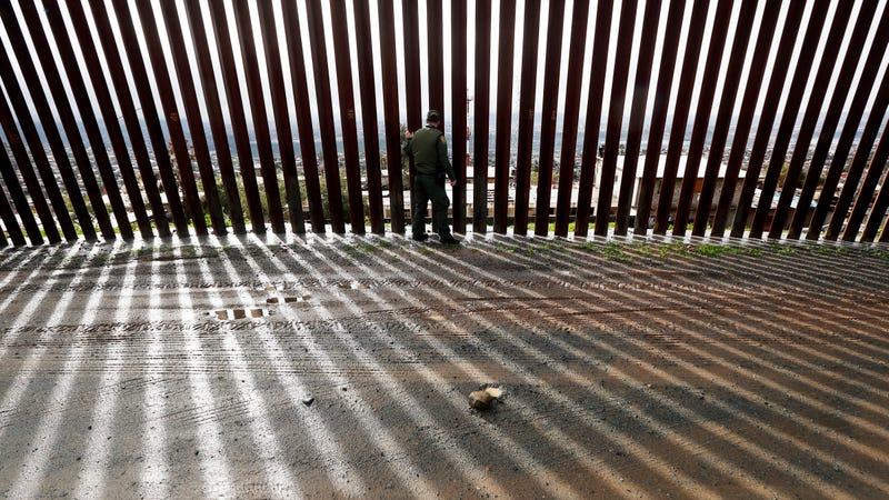 A piece of the border wall separating Tijuana, Mexico, and San Diego, California.