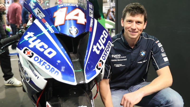 Dan Kneen who has signed for Tyco BMW for the 2018 road Racing season. It was announced at the 2017 Motorcycle Live show at the NEC, Birmingham. PICTURE BY DAVE KNEEN / Photo via IOM TT