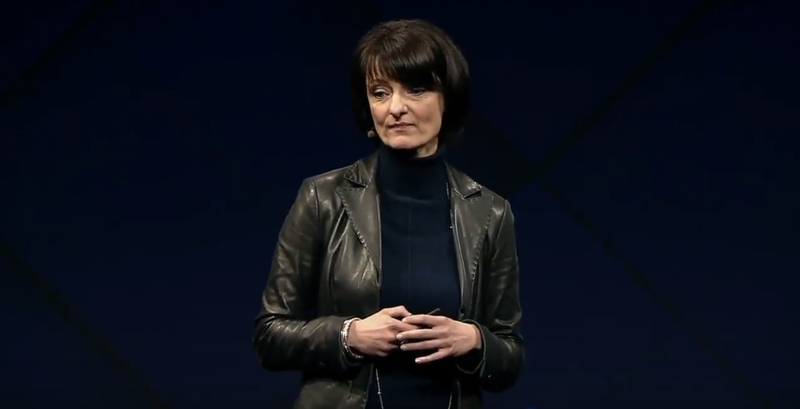 Regina Dugan showing off Facebook's plan to read your mind. (Image: Screenshot/YouTube)