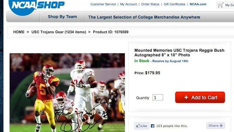 Illustration for article titled Yep, The NCAA Also Sells An Autographed Photo Of Reggie Bush At USC