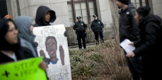 NYPD officers oversee a demonstration against stop and frisk. (Allison Joyce/Getty Images)