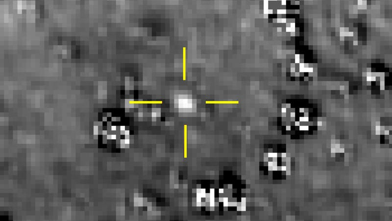 Kuiper Belt object Ultima Thule, or (486958) 2014 MU69, as seen by New Horizons on August 16, 2018. The forms around it are bright background stars.