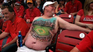 Illustration for article titled Cardinals Fan Gets Picture Of Busch Stadium Painted On His Chest