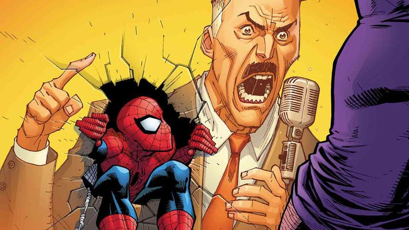 Peter deals with JJJ's new career on the cover of Amazing Spider-Man #11.