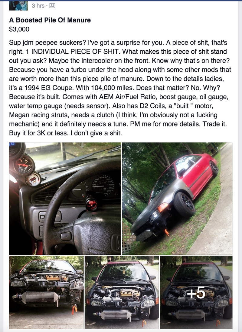 Illustration for article titled The NC/SC Cars for Sale FB Group has Some Gems...