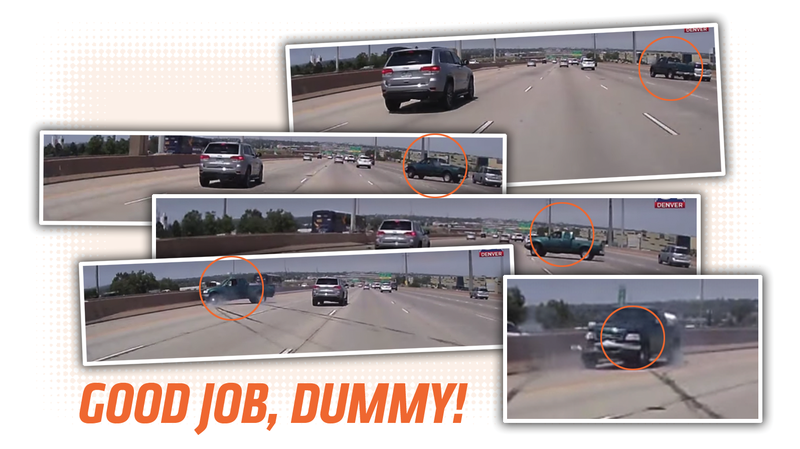 Illustration for article titled Road Raging Truck Driver Gets Instant Self-Inflicted Karma
