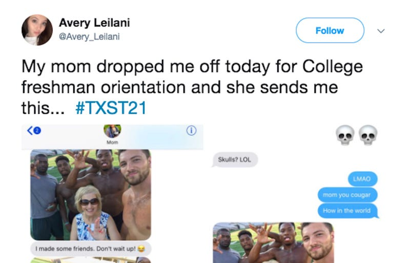 Mom poses with hunky students during daughter's college dropoff