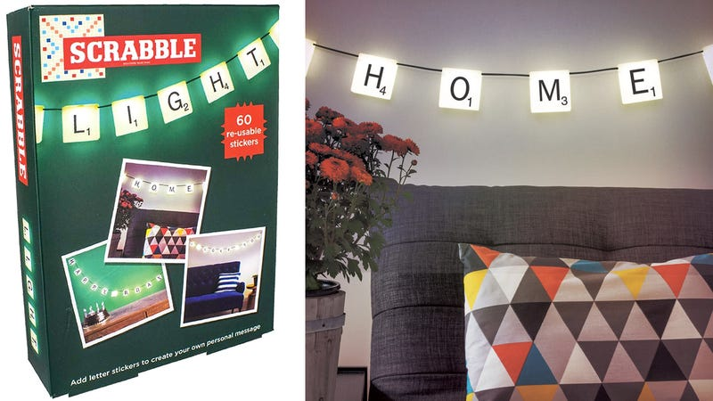 Illustration for article titled Hanging Scrabble Lights Let You Spell Out Any Glowing Message