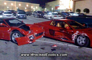 Illustration for article titled Two Loaned Ferraris Wrecked By High School Baseball Players