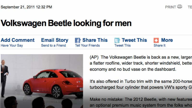 "Illustration for article titled ""Volkswagen Beetle looking for men"" says AP"