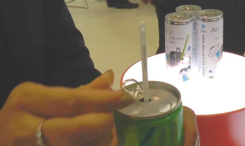 "Illustration for article titled Check out this can with a magic ""self-activated"" straw"