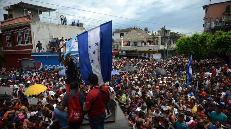 Honduran immigrants head toward Guatemala October 19, 2018.
