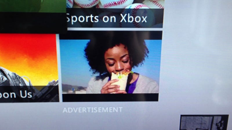 Illustration for article titled My Xbox Dashboard Features People Eating McDonald's Wraps On A Loop